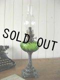 ★美品★1920年代 ドイツ製 グリーングラスのポットの大変美しい大型アンティーク・オイルランプ