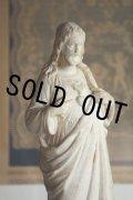 1900年代初期 フランス製 アンティーク イエス・キリスト像 「イエスの御心」 長い年月を経た石膏像 高33.5cm 1030g