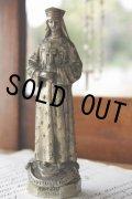 フランス製 1900年代初期 アンティーク 聖母マリア像 NOTRE DAME 優しいオーラ 金属製 高 14.1cm 318g
