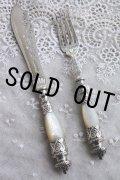 英国貴族の豪華なアンティークシルバー 1870年 英国シェフィールド マザーオブパール 純銀製 大型ナイフ&フォークセット 見事な逸品