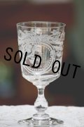 デッドストック 美品 1900年代中期 フランス製 ワイングラス リボン & 草木 & モノグラムC 美しいエッチング 全高14.8cm