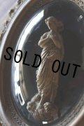 希少 1900年代初期 フランス製 アンティーク マリア像 枯金彩装飾 ガラスドーム楕円額 メダイヨン レリーフ 34×28cm
