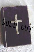 美品 希少の深濃紺ベルベットにシルバーのクロス表装 1800年代後期 フランス製 アンティーク聖書 留め具付 320ページ