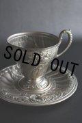 1800年代後期 フランス製 豪華なアール・ヌーヴォー象嵌 アンティーク カップ&ソーサー 絶妙の枯れ具合のシルバープレート