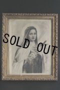 フランス製 アンティーク 聖母マリア 金彩象嵌木製額 34.5cm × 28.6cm