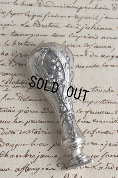 画像2: フランス製 アンティーク 純銀ハンドル ミモザのアール・ヌーヴォー象嵌  シーリングスタンプ 純銀品質刻印有(800/1000)