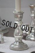 19世紀 フランス製 アンティーク マーキュリーグラス 吹きガラス蝋台 キャンドルスタンド 高16.5cm お勧めの逸品!