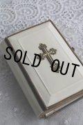 希少な美品 1800年代後期 ドイツ製 アンティーク聖書 ミサ聖典 豪華 アイボリーセル表装に真鍮の十字架と縁取り マリア挿絵