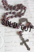 お買い得 1900年代初期 フランス製 アンティーク ロザリオ ガーネットガラス数珠 全長49cm 首に掛け可 ネックレスにも!