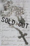 お買い得 1900年代初期 フランス製 アンティーク ロザリオ クリアガラス数珠 全長45cm 首に掛け可 ネックレスにも!