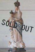 1900年代初期 フランス製 アンティーク 大きな聖母マリア 聖母子像 石膏製 45cm 1.94kg 補修跡有りの為、破格にて!