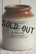 希少美品 英国BRIDPORT アンティーク CORNICK'S 特大型 マーマレード ジャム ポット ストーンウェア 全高19.5cm 1714g