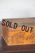 美品 フランス製 アンティーク ネコの大きなロゴ AMIDON AU CHAT 大型木製ボックス 39.5×25.0×H 14.5cm