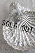 大型極美品 見事な透かし&飾り象嵌 純銀製 シェル・ディッシュトレイ 1910年 英国シェフィールド アンティークシルバー 24.4cm 211g