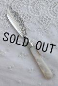 美品 1889年 英国バーミンガム ヴィクトリア王朝時代 アンティークシルバー マザーオブパール 純銀製 大型バターナイフ 17cm