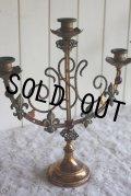 1900年代初期 フランス製 アンティーク蝋台 キャンドルスタンド 四つの百合の紋章 ルビーガラス装飾 高33.5cm 幅31cm