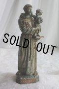 1900年代初期 フランス製 幼いキリスト優しく抱く 穏やかなお顔の聖アントニウス像 愛の守護神 21cm 素敵な古色の金属製