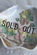 1900年代初期 イタリア製 アンティーク 天使の小皿 浮かび上がったエンジェル 軟質陶器 経12.7cm