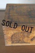 お買い得 フランス製 アンティーク AMIDON AU CHAT ネコの大きな木箱 可愛く大きな猫ロゴ 39.5×25.0×H 15.0cm