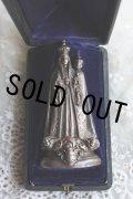 1900年代初期 フランス製 アンティーク 聖母マリア像 ノートルダム・ド・フルヴィエール 希少な専用革張りケース 縦13.5cm付属