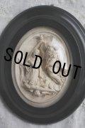 アンティーク マリア像 大天使ガブリエル 黒木楕円額ガラスドーム レリーフ 20.2cm フランス製 1900年代初期
