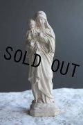 1900年代初期 フランス製 アンティーク 幼いキリストを抱く聖母マリア像 小ぶりな石膏製 全高 21.6cm 377g