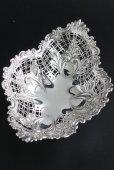 画像3: 豪華美品 1896年 英国アンティーク 純銀製 ディッシュ 優美な透かし & 小花の飾り象嵌 & 立脚 18cm 160g (3)