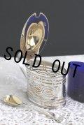 極美品 1912年製 英国アンティーク アンティークシルバー 純銀製 内金彩 透かしのマスタード ポット 純銀スプーン付 125g