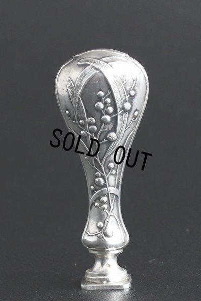 画像3: フランス製 アンティーク 純銀ハンドル ミモザのアール・ヌーヴォー象嵌  シーリングスタンプ 純銀品質刻印有(800/1000)