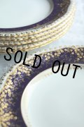 豪華美品 アンティーク ミントン & ティファニー ロイヤルブルー金彩盛装飾 アイボリー プレート 22.2cm