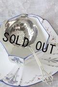 美品 純銀製 ティーストレナー 可憐な透かし加工 & 花リムハンドル スターリングシルバー 1960年 英国製