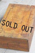 美品 フランス製 アンティーク ネコの大きなロゴ AMIDON AU CHAT 大型木製ボックス 39.5×25.0×H 14.2cm