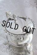 鏡面の極美品 1910年 英国バーミンガム製 アンティークシルバー 純銀製 猫脚&小花象嵌 マスタードポット ガラスポット付 101g
